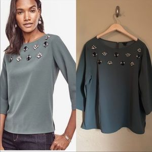 Ann Taylor Jeweled Embellished Blouse Olive XL
